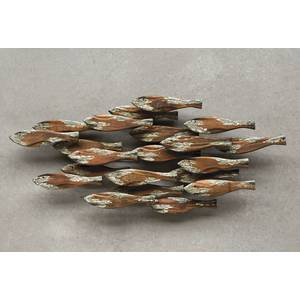 "WALL ART, SCHOOL OF FISH, DRIFTWOOD, 36""L"