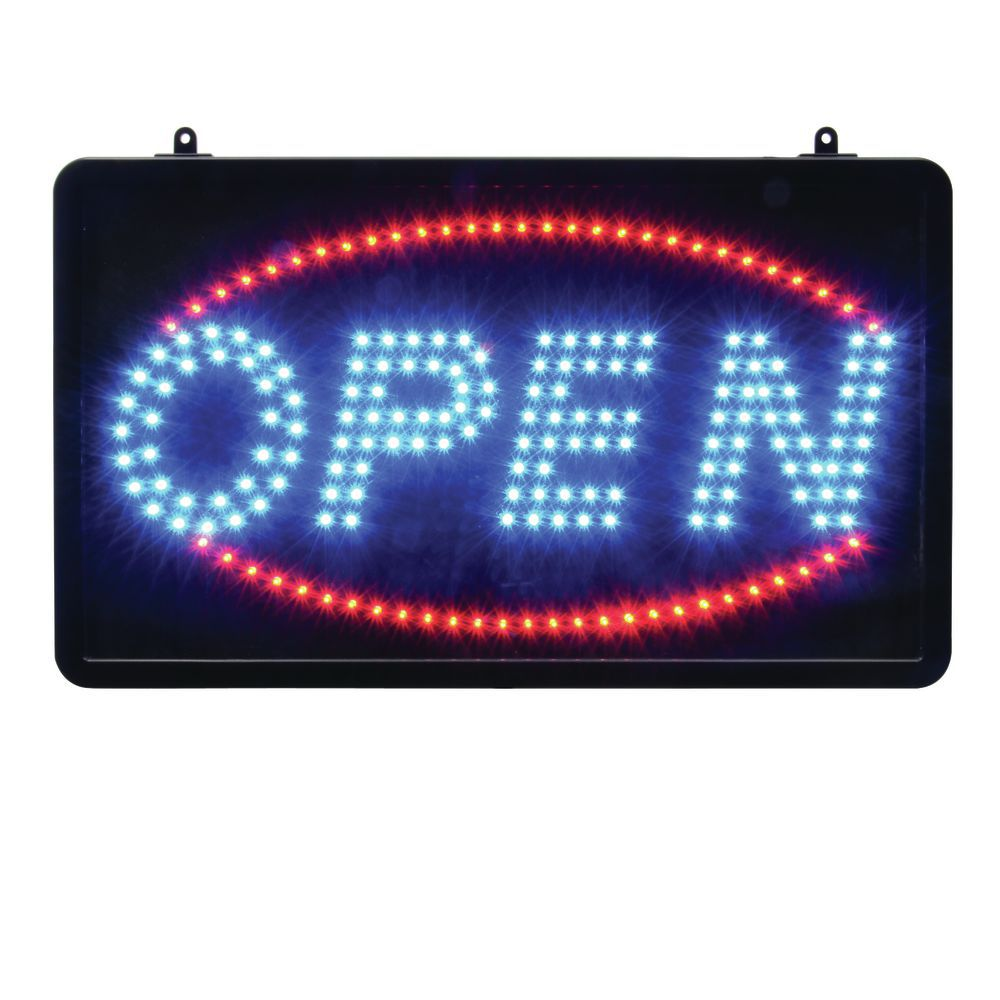 SIGN, OPEN W/CIRCLE, RED/BLUE, 13H X 22W
