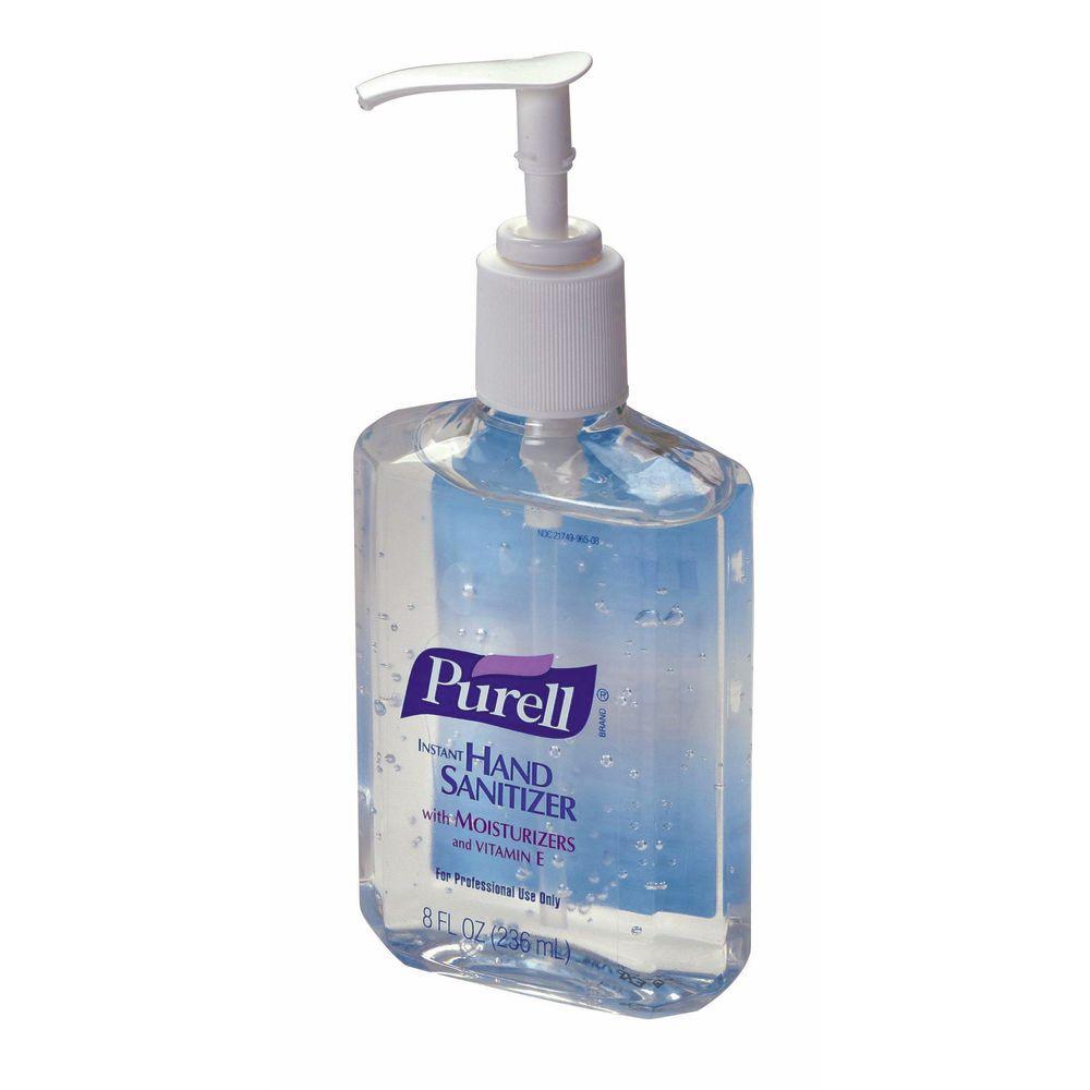 purell 8 oz clear hand sanitizer bottle