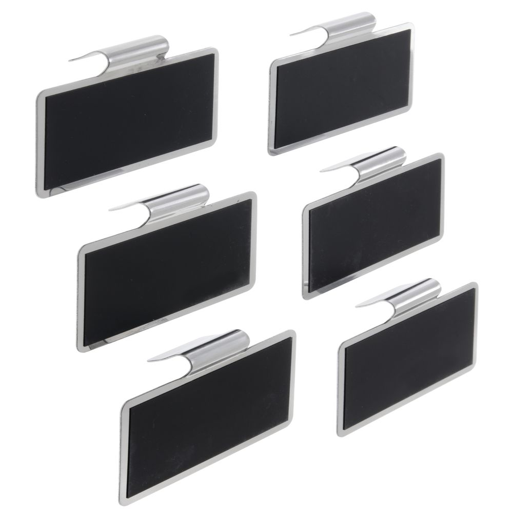 Tablecraft 6-Piece Stainless Steel Chalkboard Tag Set - 3L x 1 3/4H