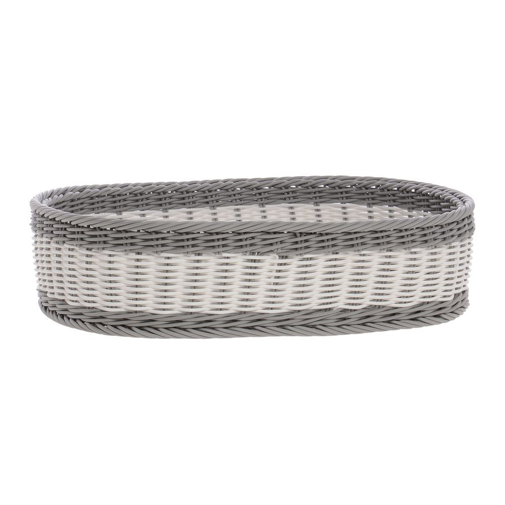 BASKET, WEAVE, OVAL, GREY/WHITE