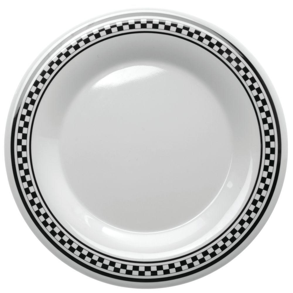 PLATE 9 DIA W/WR CHEXERS MELAMINE  sc 1 st  Hubert.com & G.E.T. Diamond Chexers™ White Melamine Dinner Plate - 9Dia