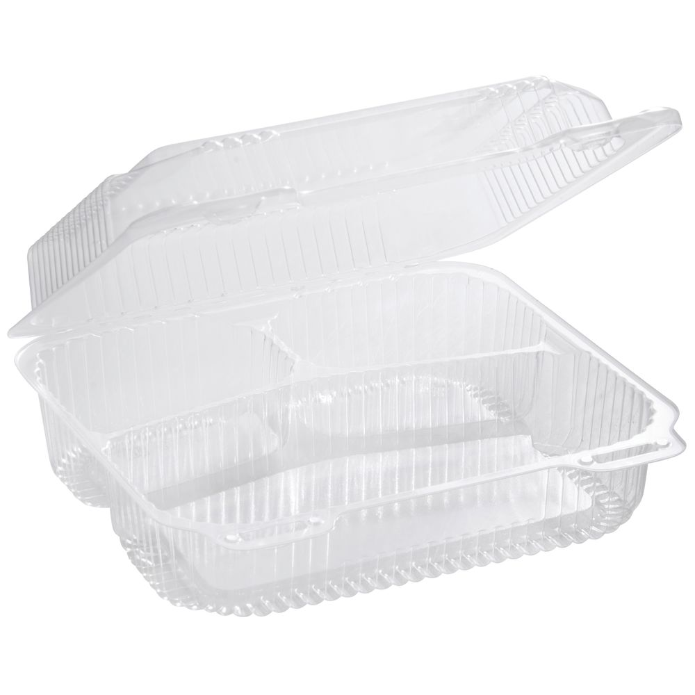 Medium 3-Section Clear Polystyrene Hinged Carryout Container