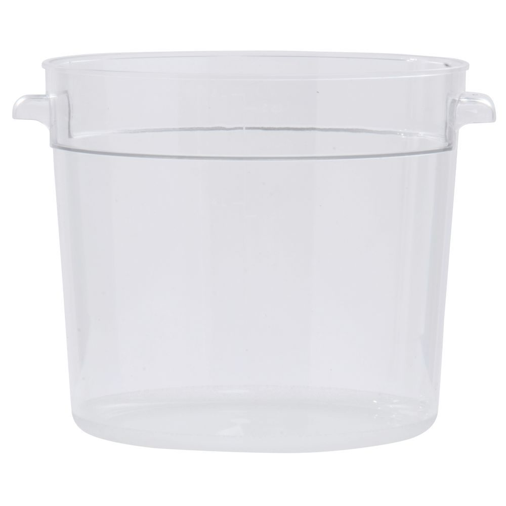 HUBERT 6 qt Round Clear Plastic Food Container 10Dia x 7 34D