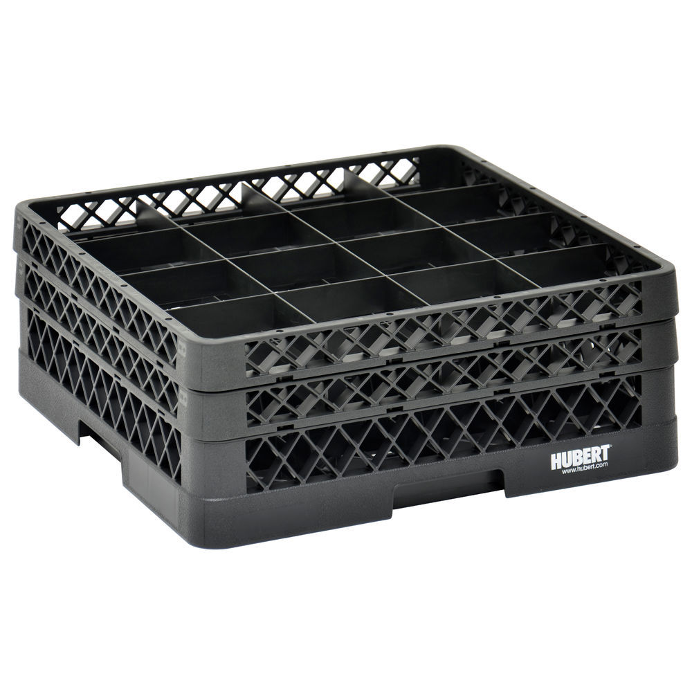 RACK, 16 COMPARTMENT, 2 EXTENDERS, BLACK