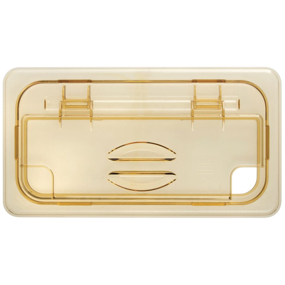 Cambro H-Panâ?¢ and X-Panâ?¢ 1/3 Size Amber High Heat Plastic Notched FlipLid<sup>®</sup>