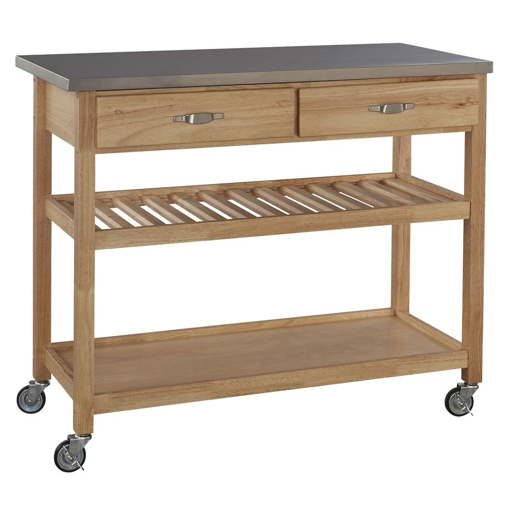 Jumbo Wood Serving Cart With Stainless Steel Top - 46\