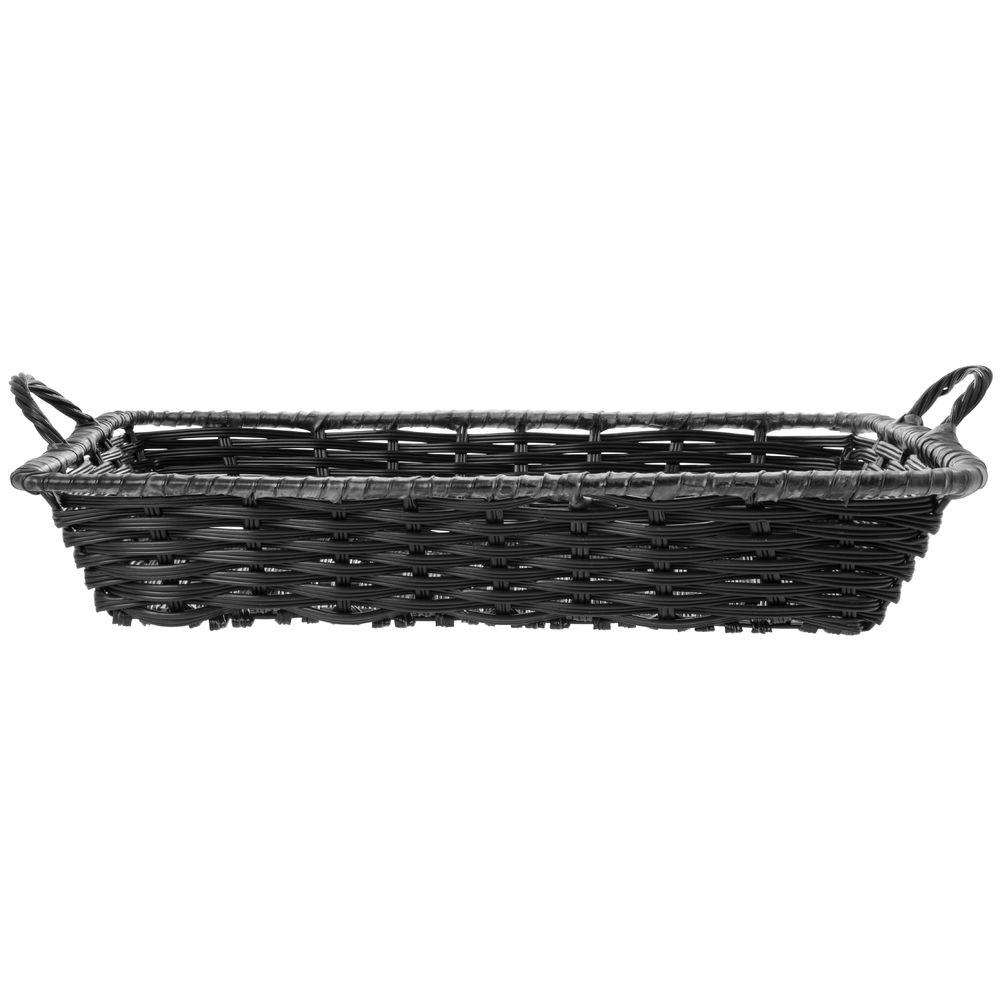 "Black Rectangular Baskets with Handles Plastic 18""L x 12""W x 3 1/2""D"