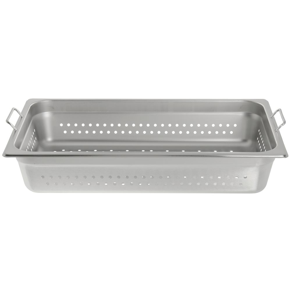 "Hubert® Full Size Steam Table Pan Perforated with Handles 4""D"