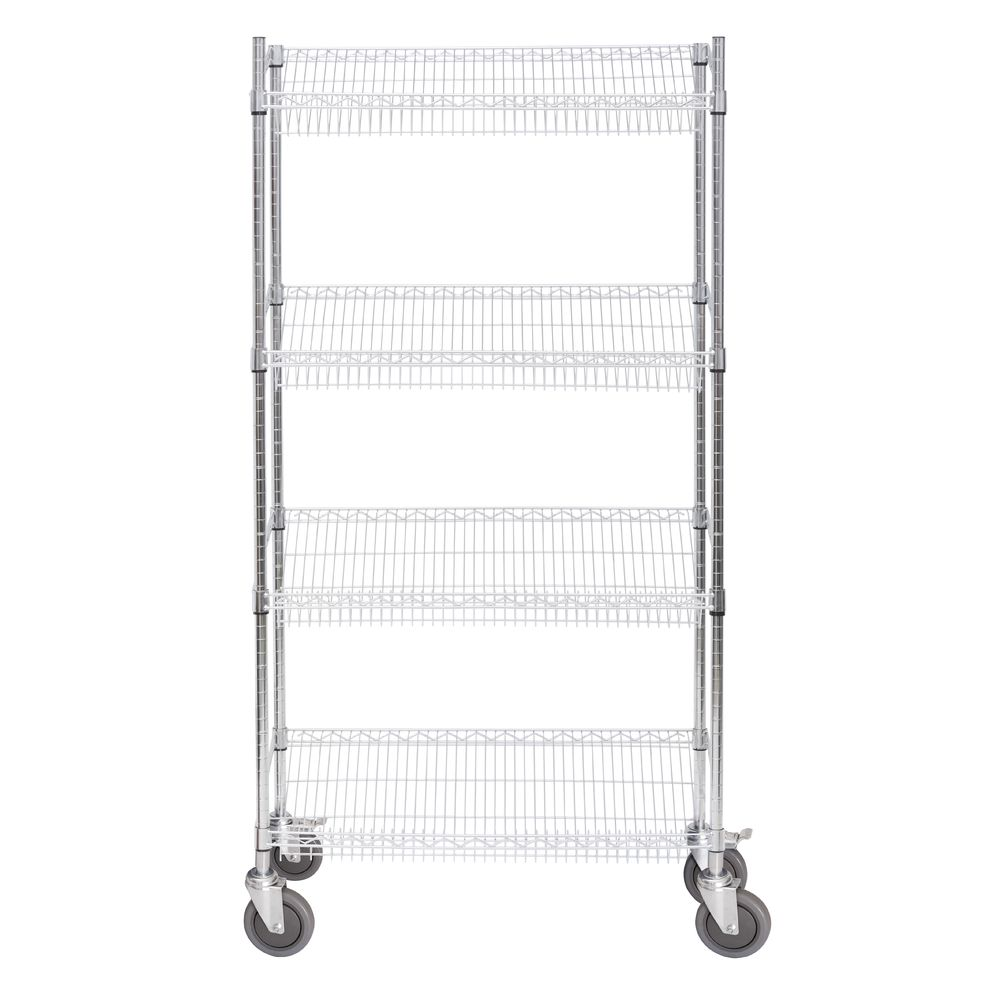 HUBERT<sup>®</sup> Chrome Plated Steel Mobile Slant Shelving