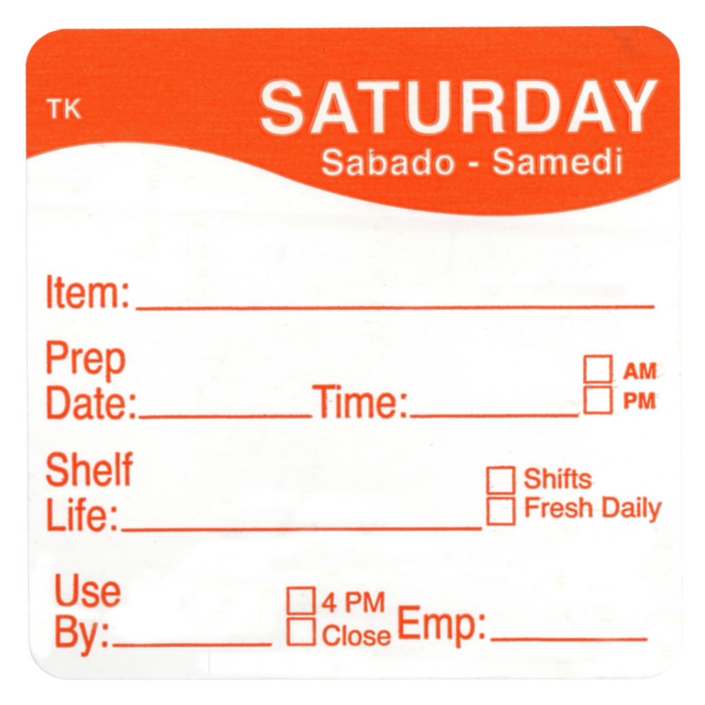 """ToughMark Days Of The Week Labels Orange Saturday 2"""" Square"""