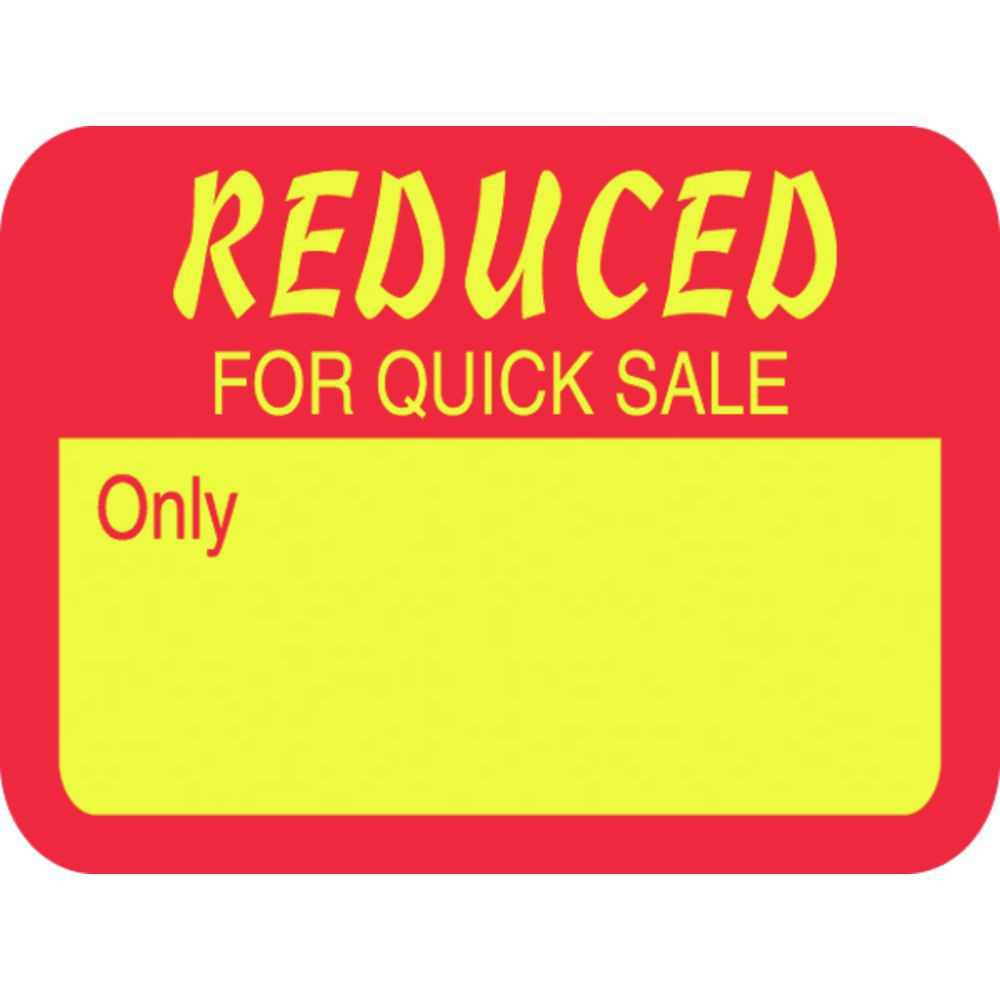 "Red/Yellow Multi-Purpose Price Tag Labels ""Reduced For"
