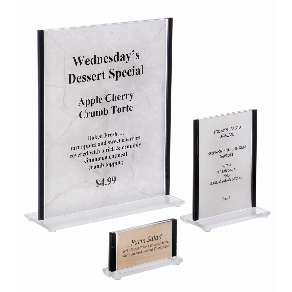 "Acrylic Sign Holders With Black Trim Sides Hold 2""H x 3 1/2""W Inserts"