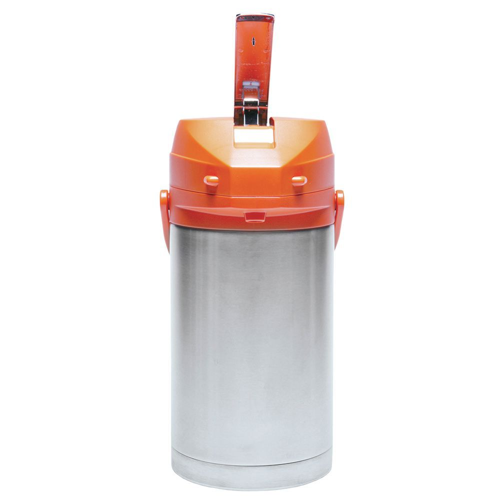 Service Ideas Stainless Steel Airpot with Orange Lever Lid 3 7/10 L