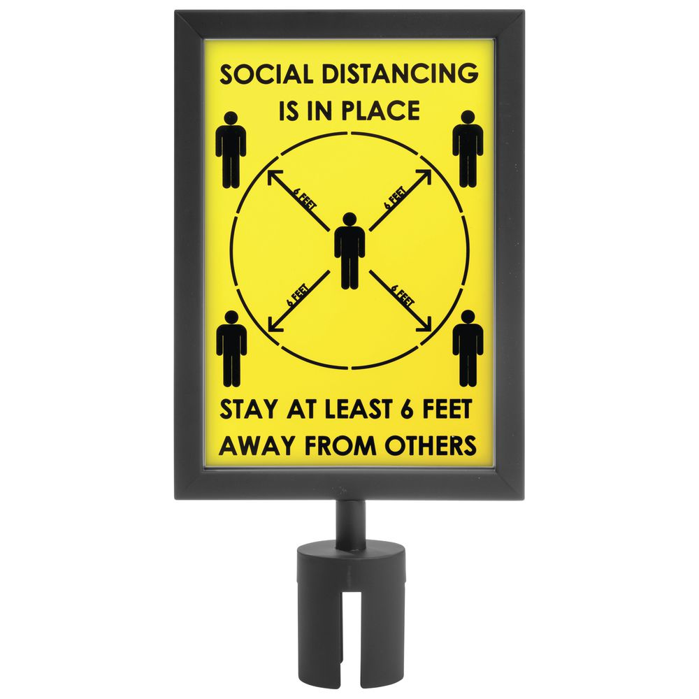 Yellow Plastic Social Distancing Sign For Crowd Control