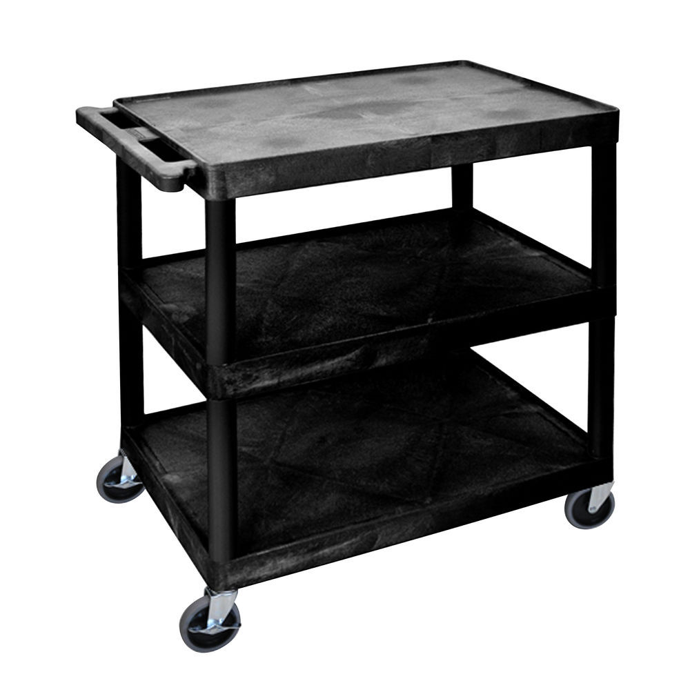UTILITY CART, BLACK 3-SHELF, 32X24X33