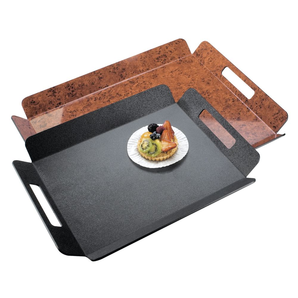 """Room Service Tray with Handles in Black ABS Plastic  16""""L x 13""""W"""