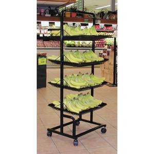 DISPLAY, 4-SHELF PRODUCE, W/LINERS, BLACK