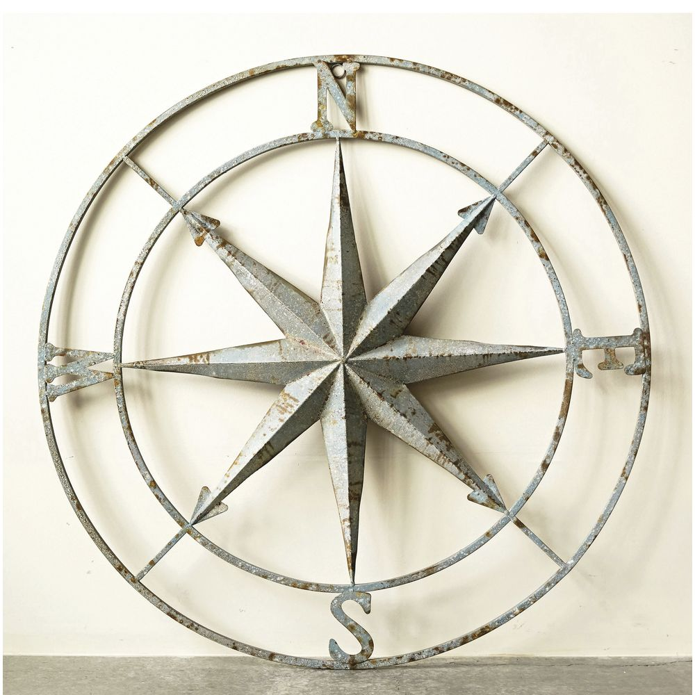 "WALL ART, COMPASS, IRON, 41"" DIA"