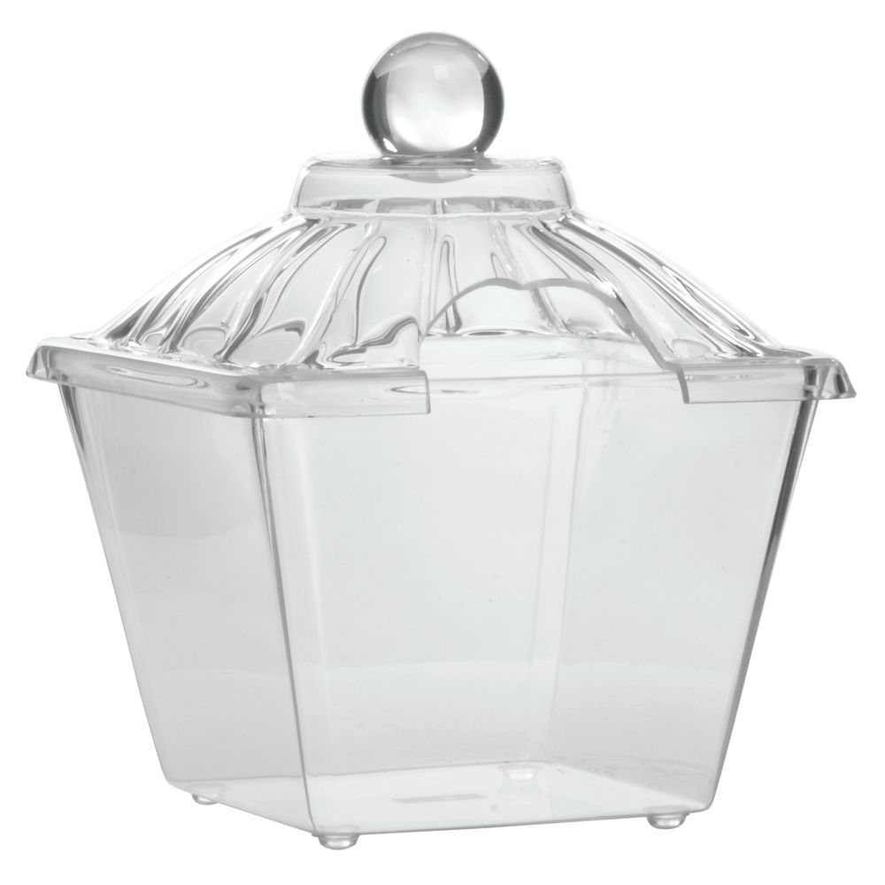 """Delfin Acrylic Amphora Jars in Clear 1/2 gal with Cut-Out Lid 7""""L x 7""""W x 5""""H"""