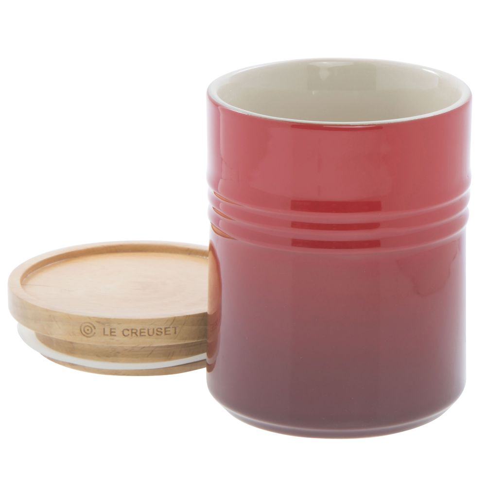CANISTER, W WOOD LID, 22 OZ, CERISE RED