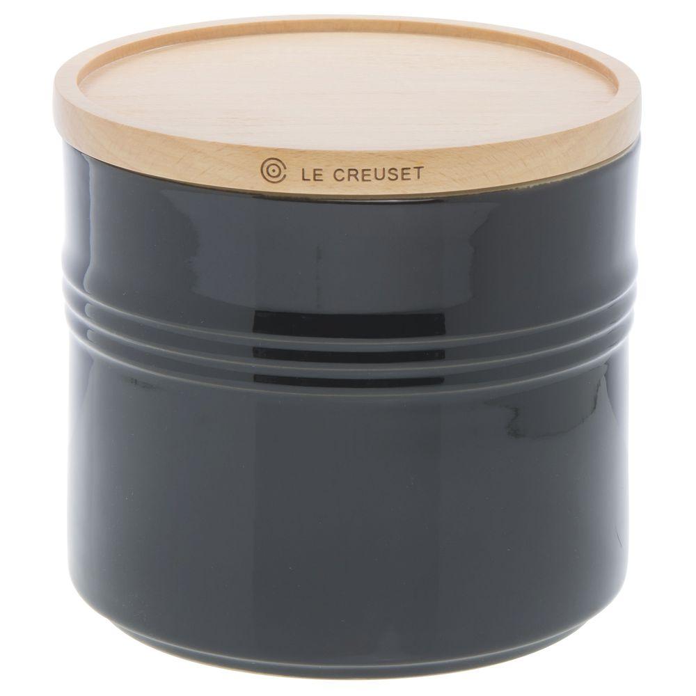 CANISTER, W WOOD LID, 1.5 QT, ONYX BLACK