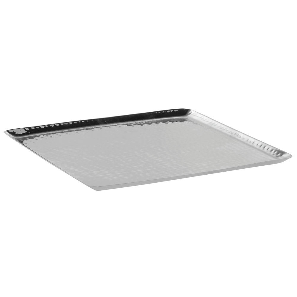 Expressly Hubert Hammered Stainless Steel Square Tray 14 L X 14 W X 3 4 H
