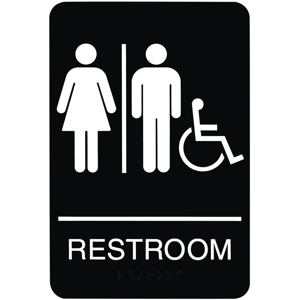 Ada Compliant Wheelchair Accessible Unisex Restroom Sign Black