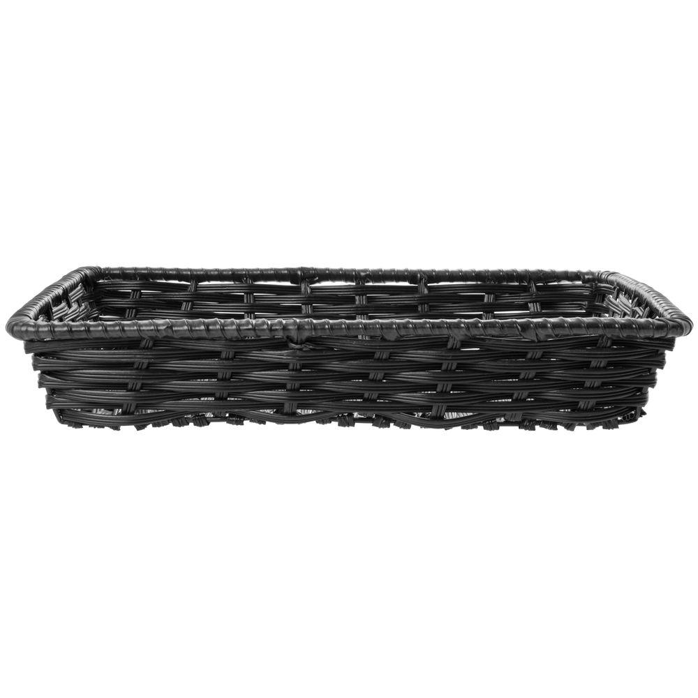 """Expressly Hubert® Tri-Cord Washable Wicker Display Basket Black 16""""L x 12""""W x 2 1/2""""D"""