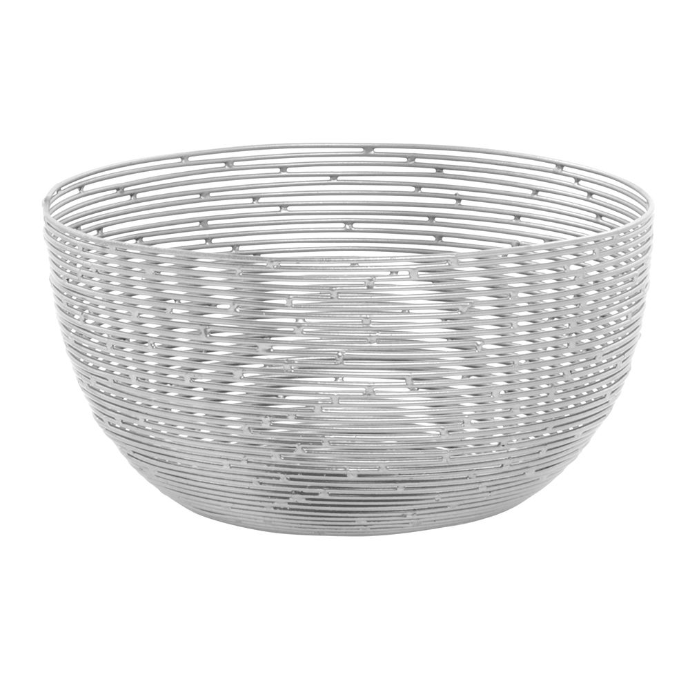 Expressly HUBERT® Round Silver Wire Basket - 7 7/8\