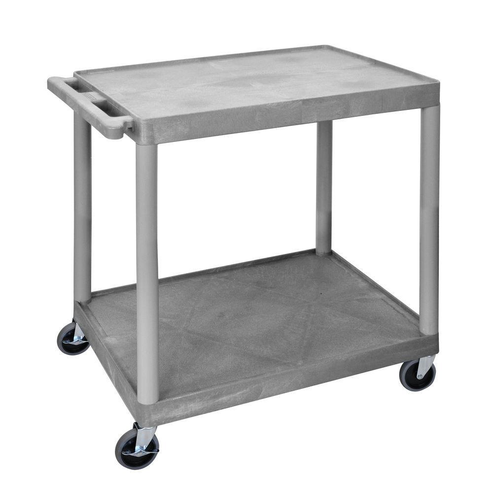 """Plastic Cart 2 Shelf 24""""L x 18""""W x 33""""H Grey"""
