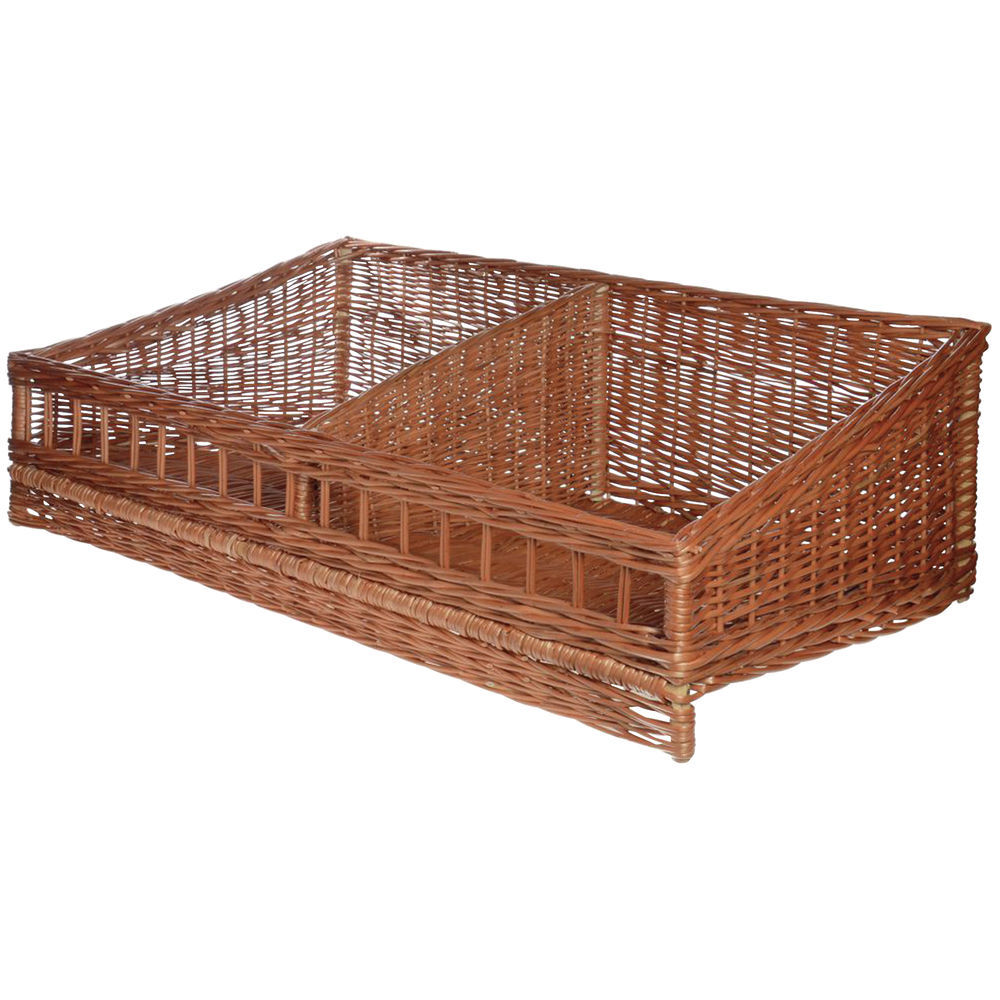 96a41a6c0b Rectangular Natural Willow 2 Compartment Tapered Basket - 39 1 2