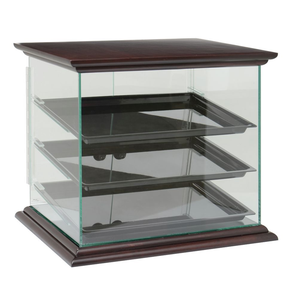 Pastry Display Case with Top and Bottom Wood Trim in Mahogany Finish