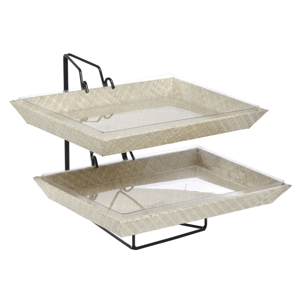 Bamboo Serving Trays with Rack