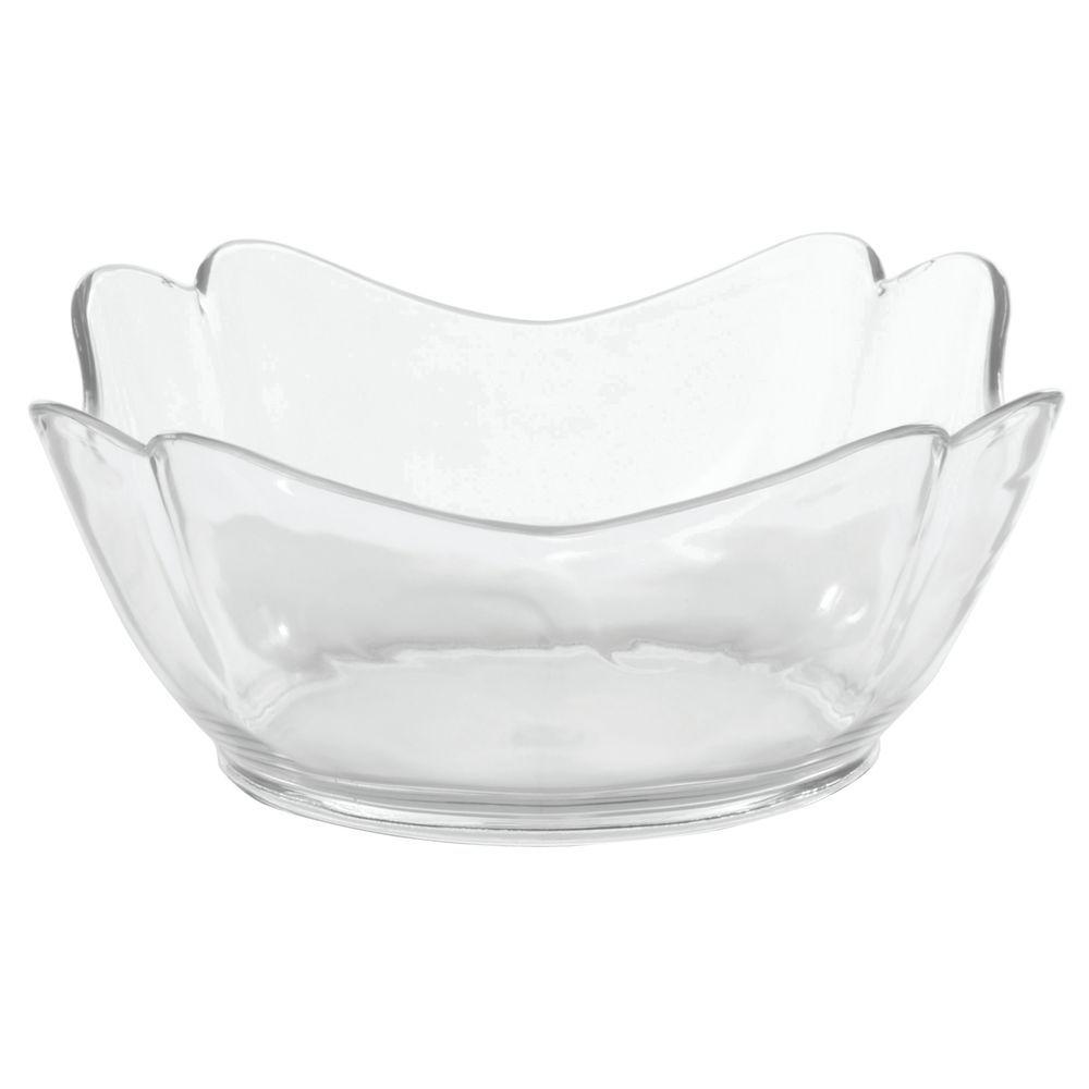 "Glossy Tulip Crock/ Square Clear Bowl in SAN Plastic 8""L x 8""W x 4""H"
