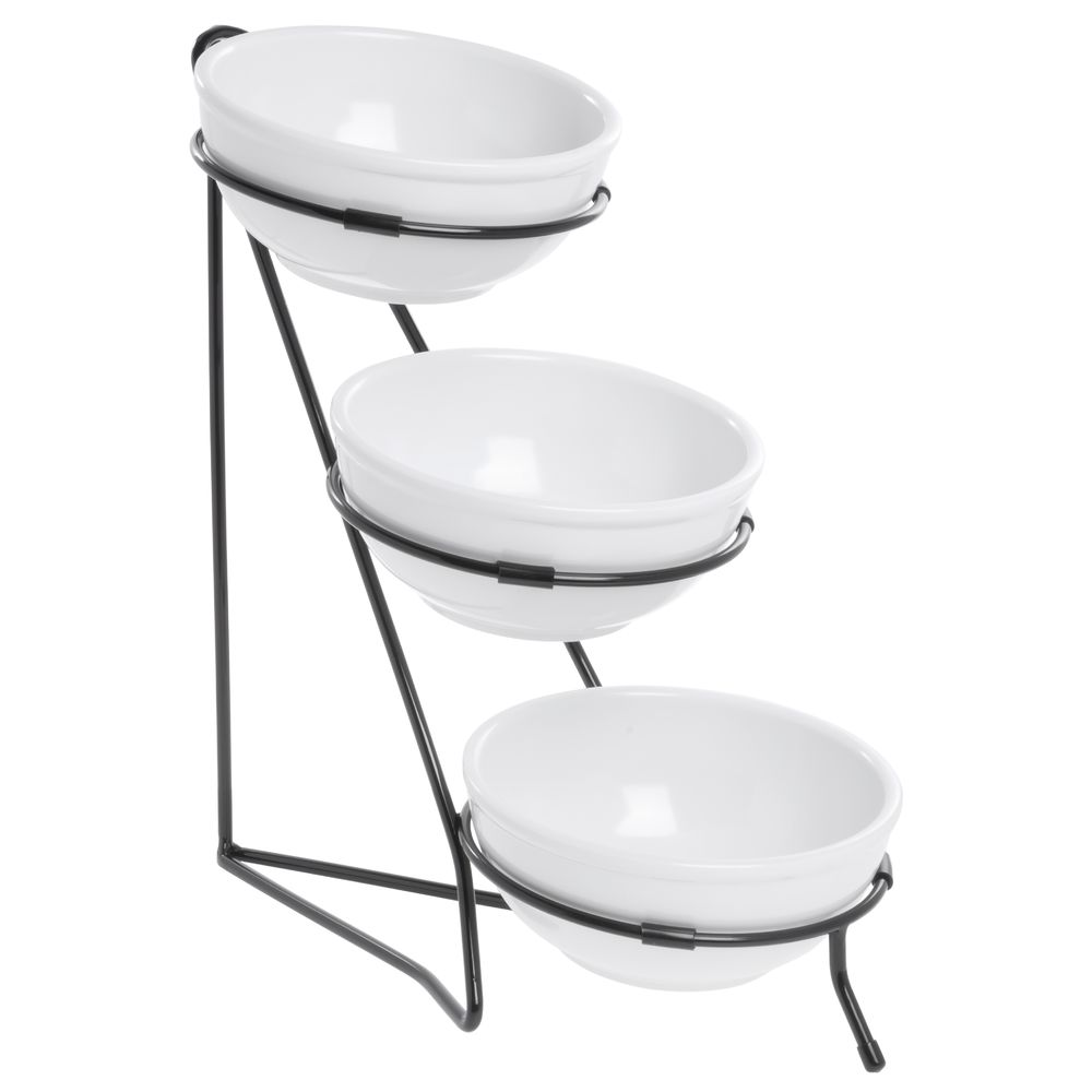 expressly hubert small 3 tier white bowl with black wire display