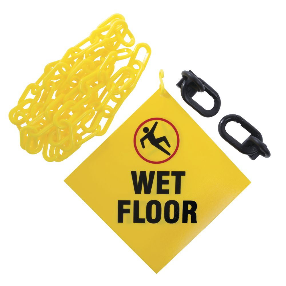 SIGN, HANGING, W/6' OF CHAIN, WET FLOOR