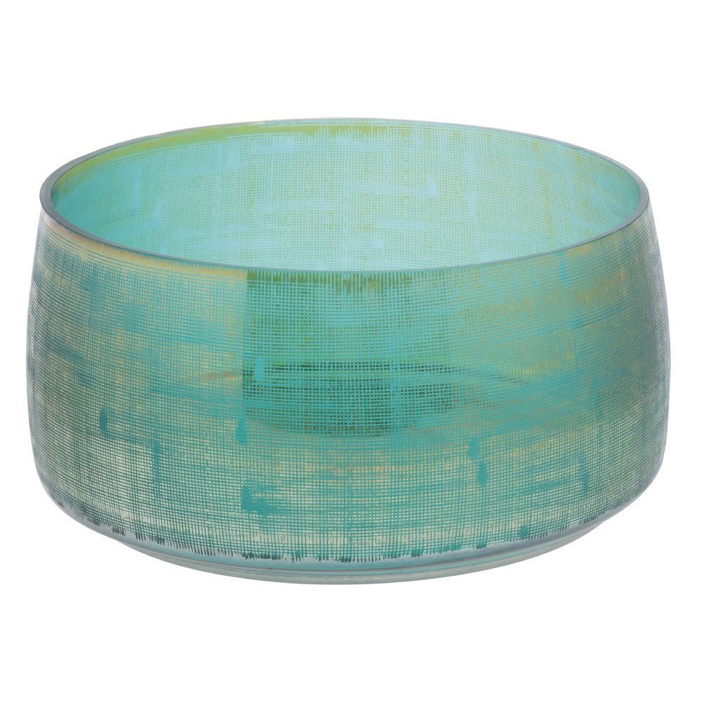 """BOWL, THEORY, TEAL, GLASS, 6""""H"""