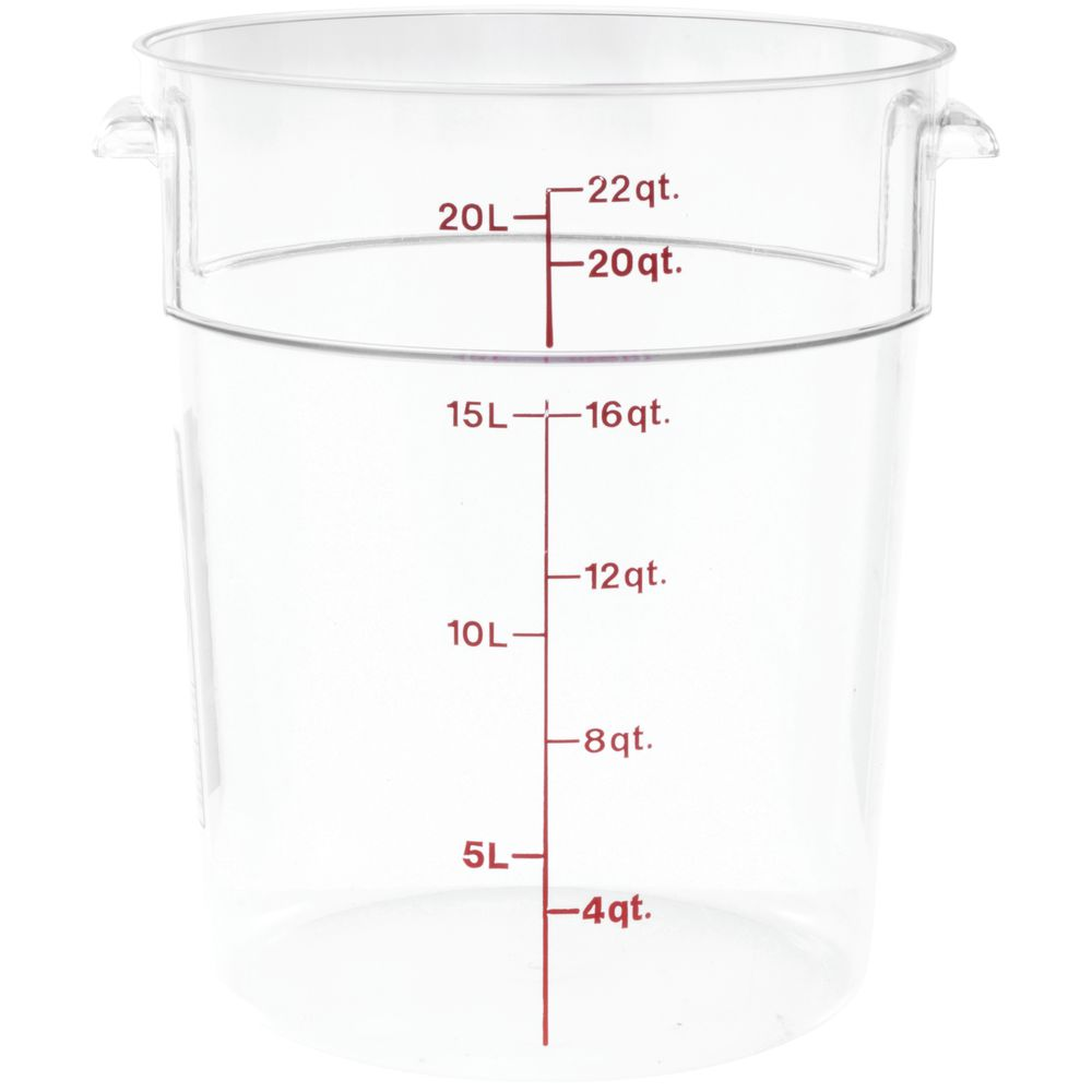 Cambro Camwear 22 qt Round Clear Plastic Food Storage Container