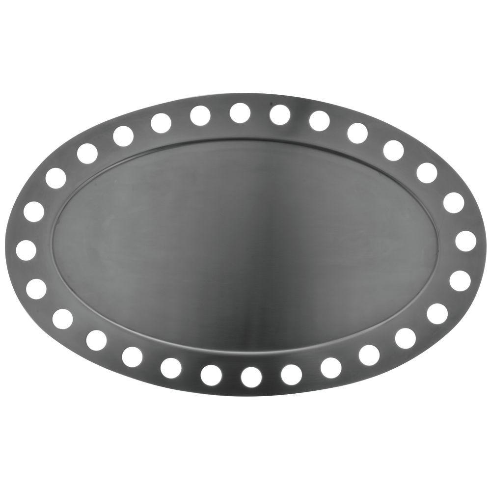 """Oval Stainless Steel Futuristic Display Platters 17""""L  x  10 3/4""""W"""
