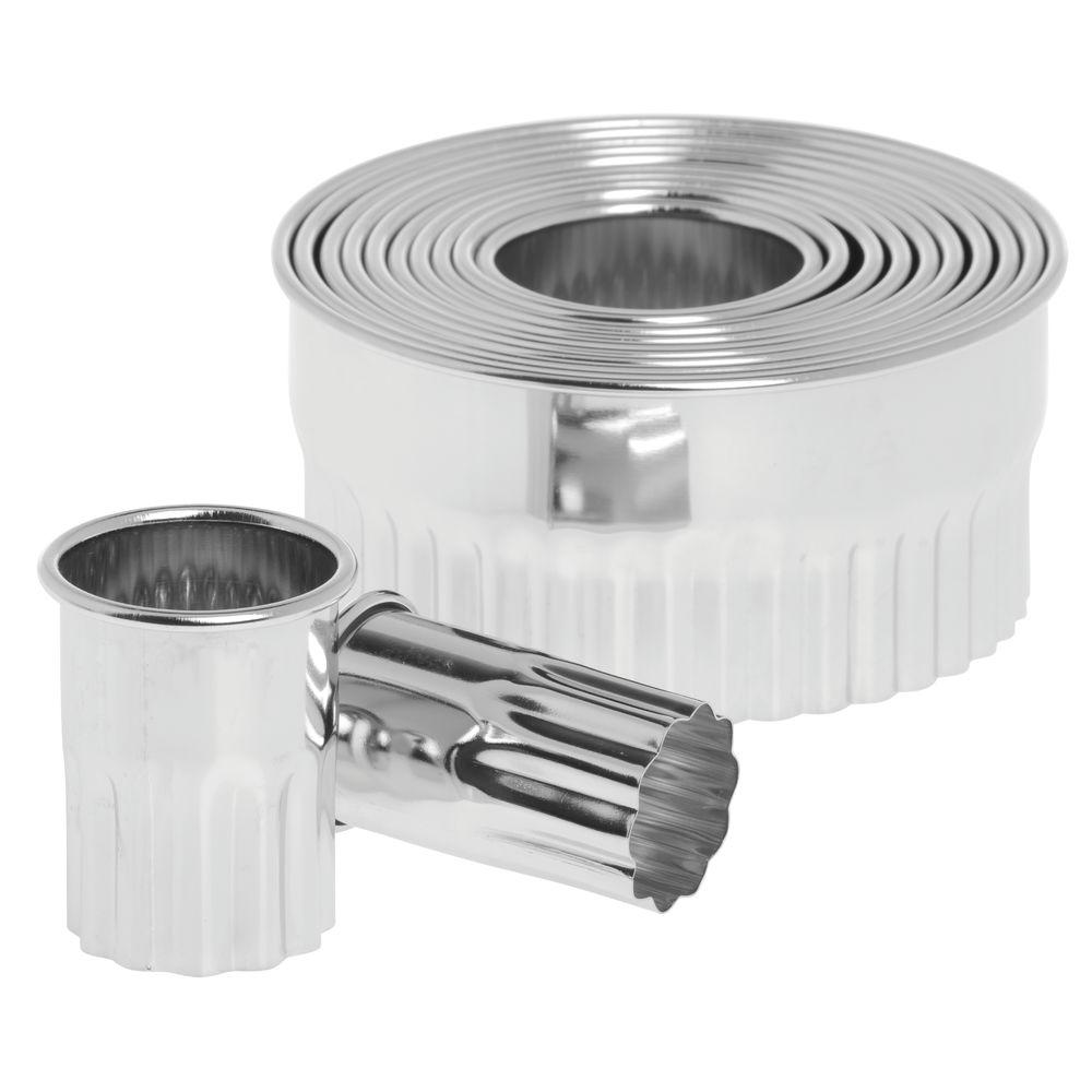 HUBERT Round Stainless Steel Serrated Pastry Cutter Set