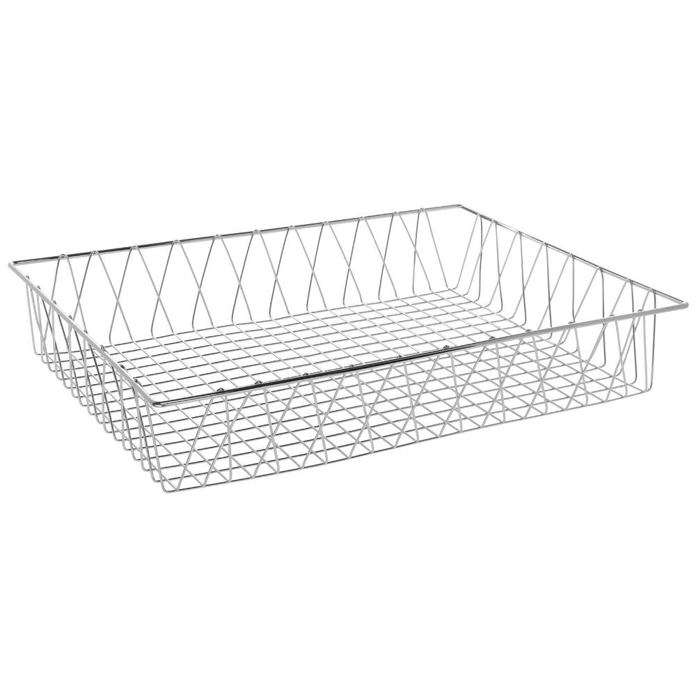 HUBERT Rectangular Chrome Plated Steel Wire Basket - 24L x 18W x 4H