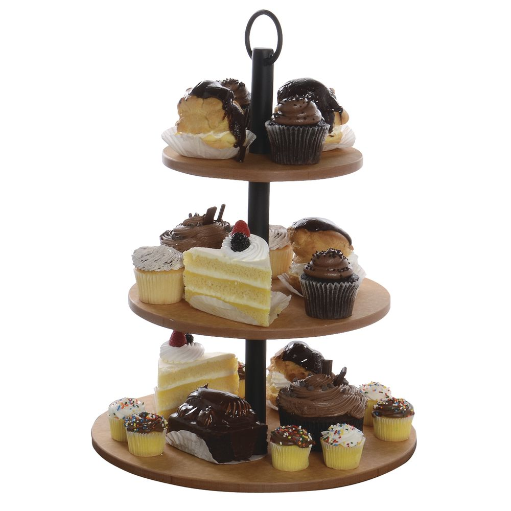 STAND, 3-TIER, NATURAL/BLACK