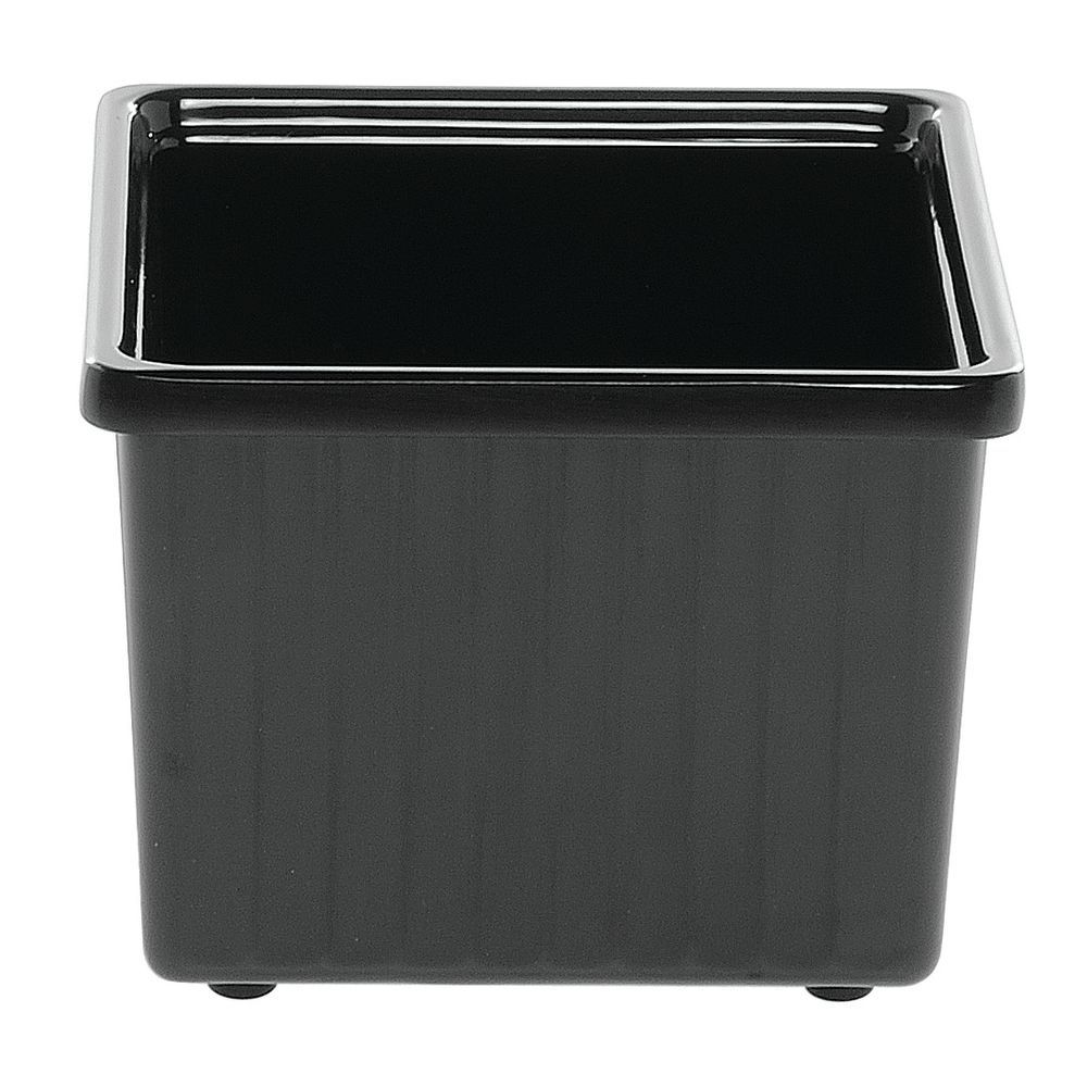"Square Garnish Buffet Pan in Black Melamine 6""L  x  4 3/4""H"