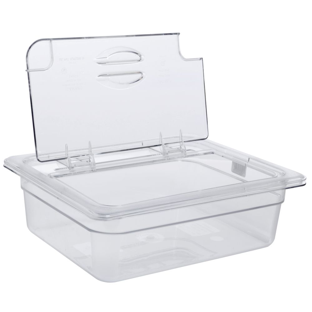 Cambro Camwear Container Lids Notched FlipLid 1/2 Size Clear Cold Food