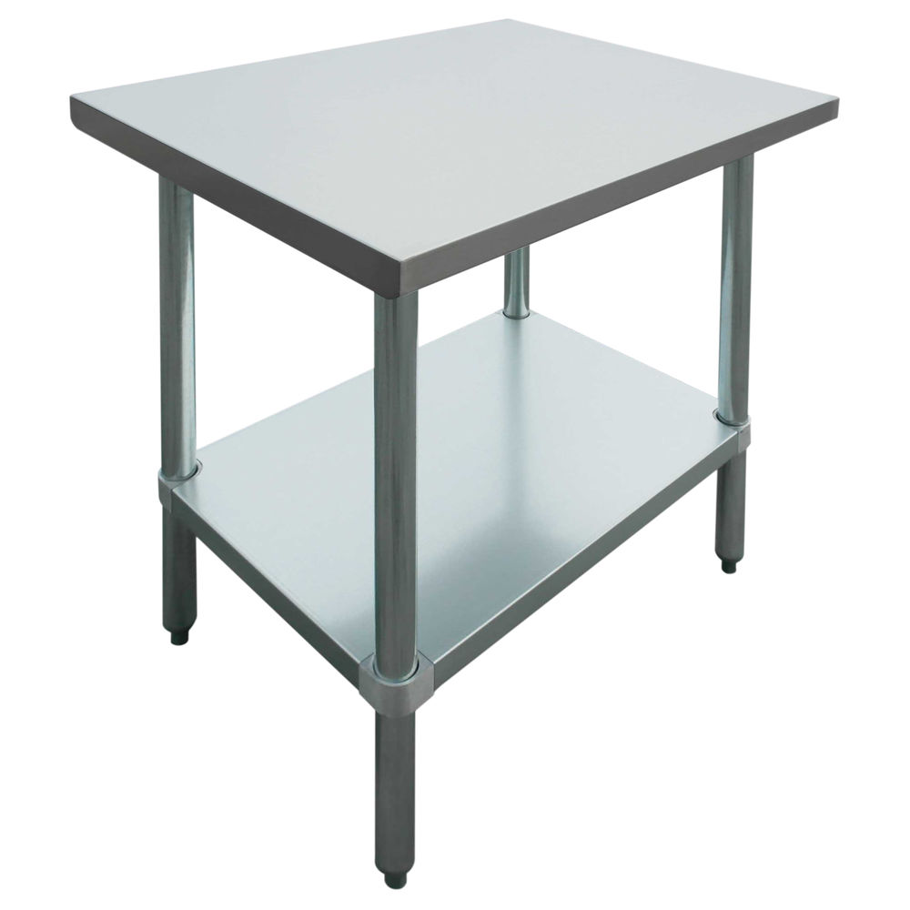 HUBERT Stainless Steel Work Table with Adjustable Galvanized Steel Legs Straight Edges 48L x 30W x 24H