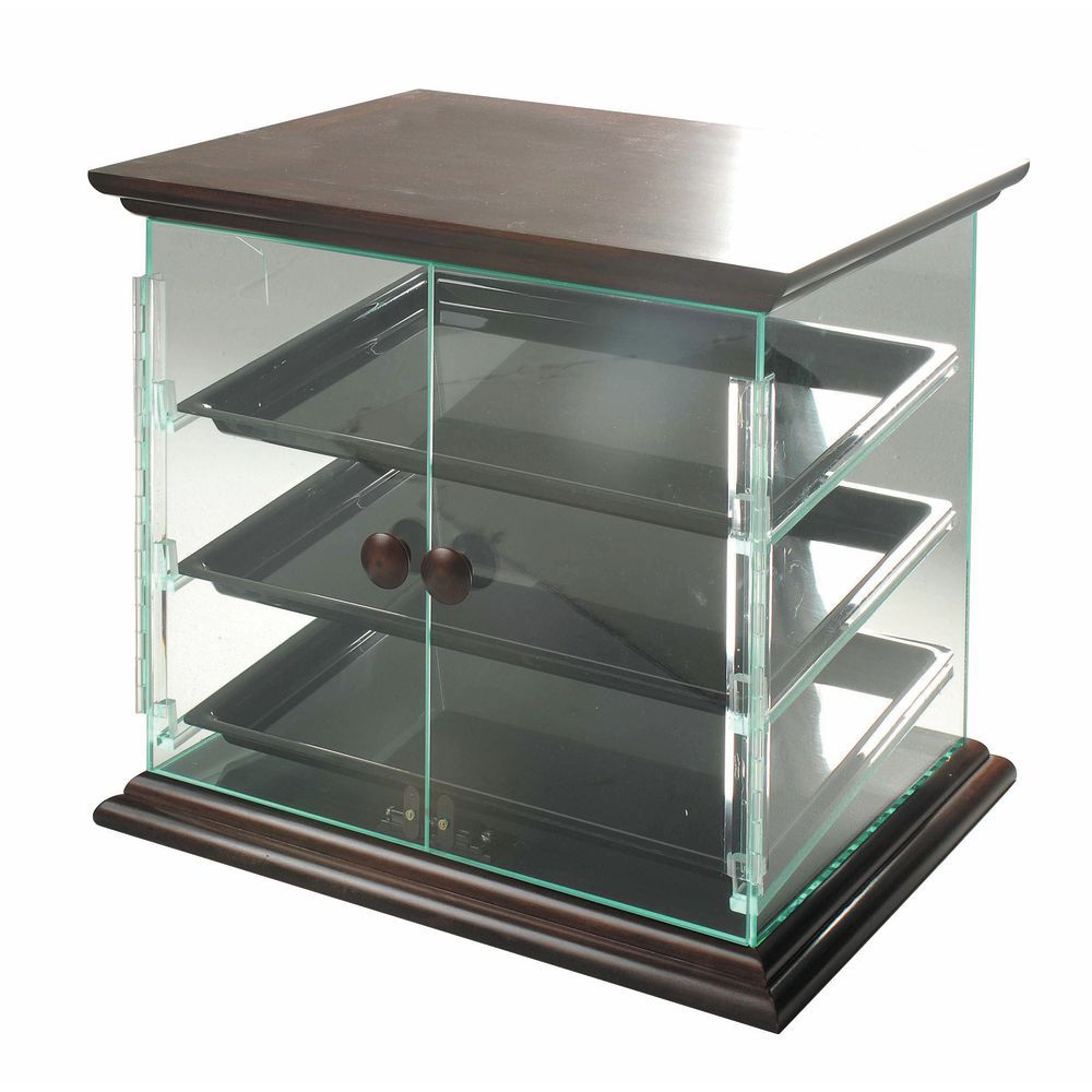 Bakery Counter Display Case with Top and Bottom Mahogany-Stained Wood Trim