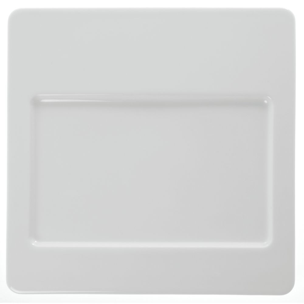 "Stoneleaf + White Porcelain Displayware Square White Porcelain Plate holds #97345 12""L"