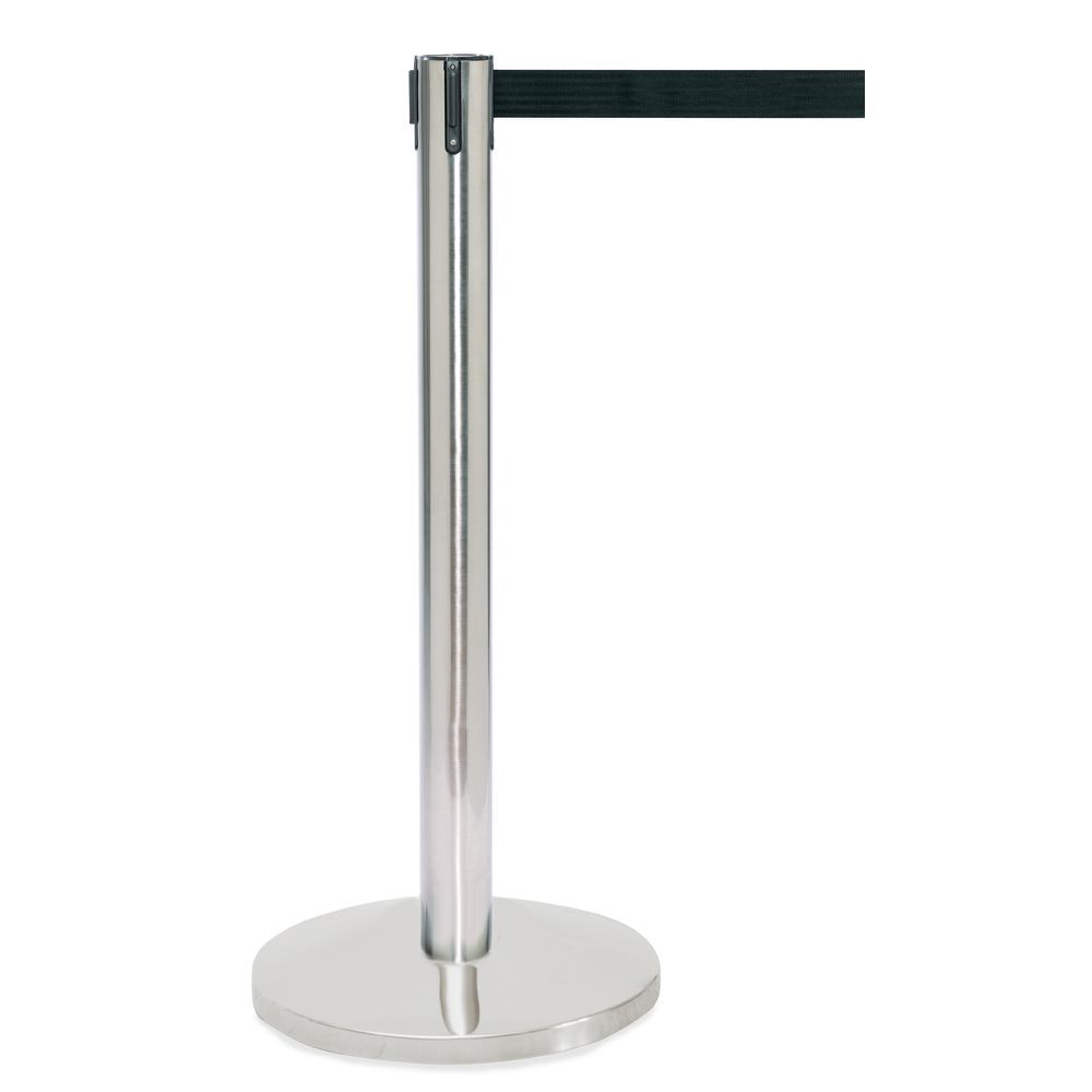 HUBERT�® Chrome Stanchion Steel Post with Black Belt and Flat Base