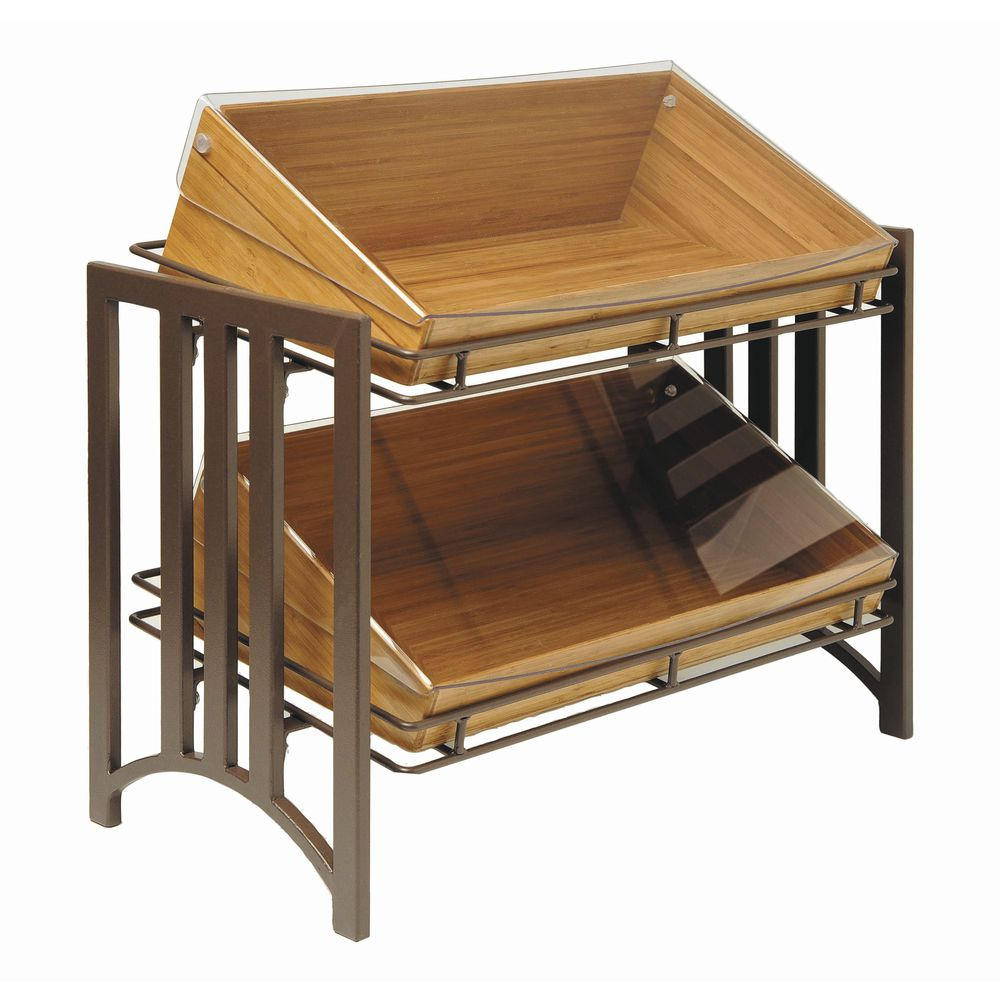 Cal-Mil Food Display Stands 2- Tier Mission Style Moroccan Brown